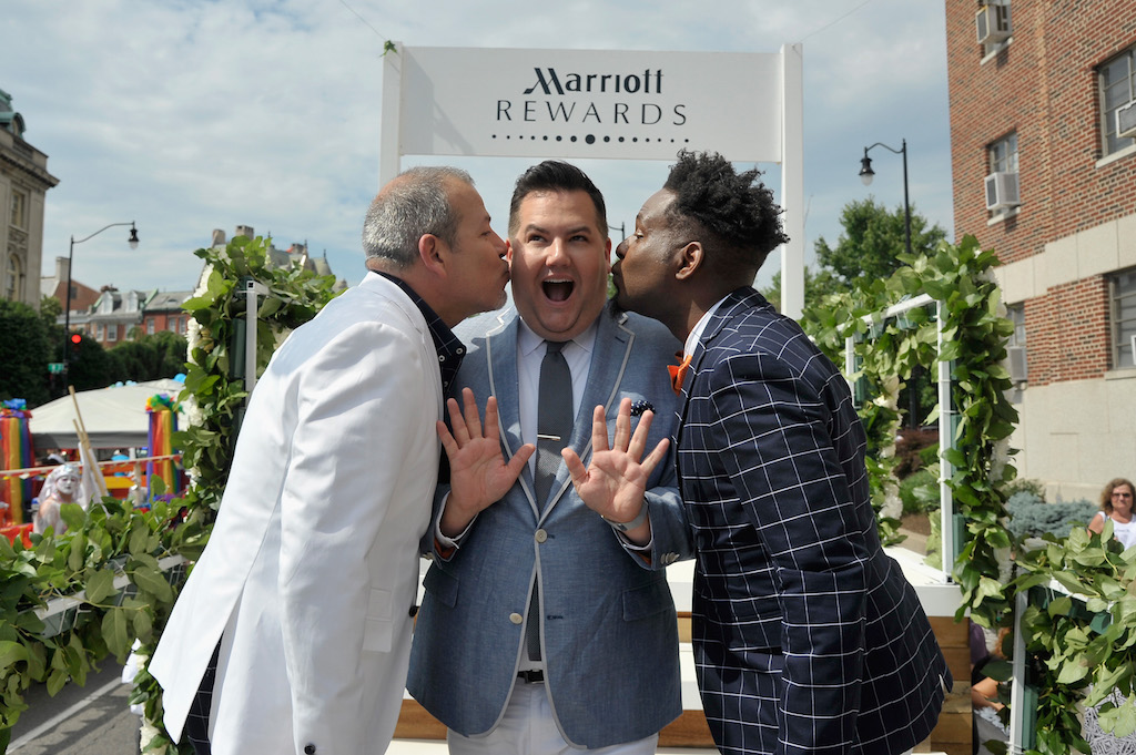WASHINGTON, DC - JUNE 13:  Ross Mathews Officiates Wedding of George Carrancho and Sean Franklin who were married at D.C. Capital Pride Parade For Marriott International's #LoveTravels Campaign on June 13, 2015 in Washington, DC.  (Photo by Kris Connor/Getty Images for Marriott International)